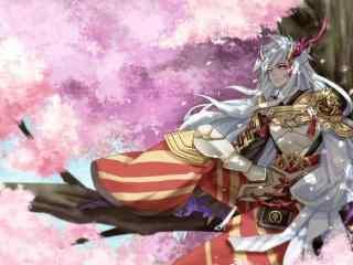 坐在樱花树上的茨木童子图片壁纸