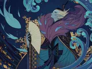 阴阳师荒川之主同人图壁纸