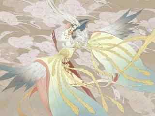 姑获鸟金鸾鹤羽唯美手绘壁纸