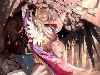阴阳师源博雅与大天狗亲吻桌面壁纸