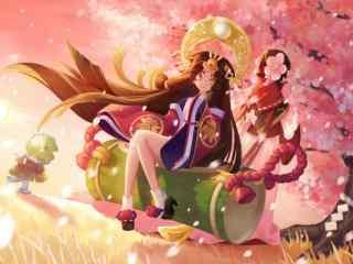 阴阳师唯美的辉夜姬与樱花妖桌面壁纸