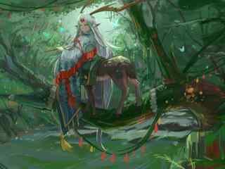 阴阳师小鹿男觉醒后绿色清新壁纸