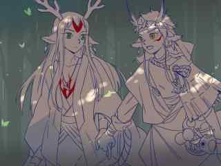 手绘阴阳师小鹿男觉醒前后桌面壁纸