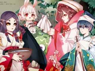 阴阳师桃花妖与可爱少女壁纸