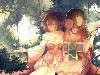 阴阳师桃花妖与樱花妖桌面壁纸