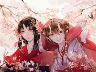 阴阳师桃花妖与樱花妖唯美壁纸