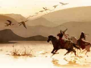 剑网三天策大雁南飞手绘壁纸