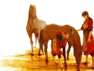 剑网三之河边洗马的天策壁纸