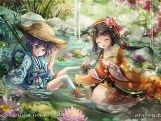 阴阳师鲤鱼精河童手绘壁纸
