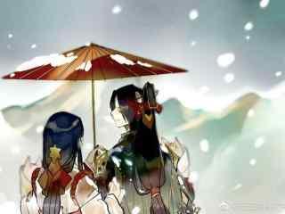 阴阳师玉藻前与巫女唯美图片壁纸