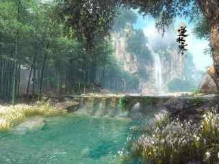逆水寒風景山水原(yuan)畫(hua)高清壁(bi)紙