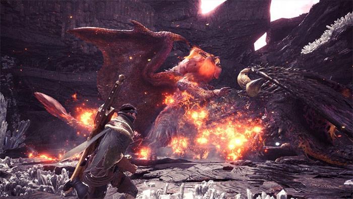 怪物猎人世界炎王龙灭尽龙斗殴精美截图壁纸