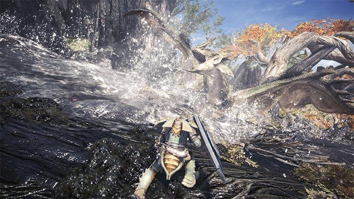 怪物猎人世界被水淹没的雌火龙精美截图