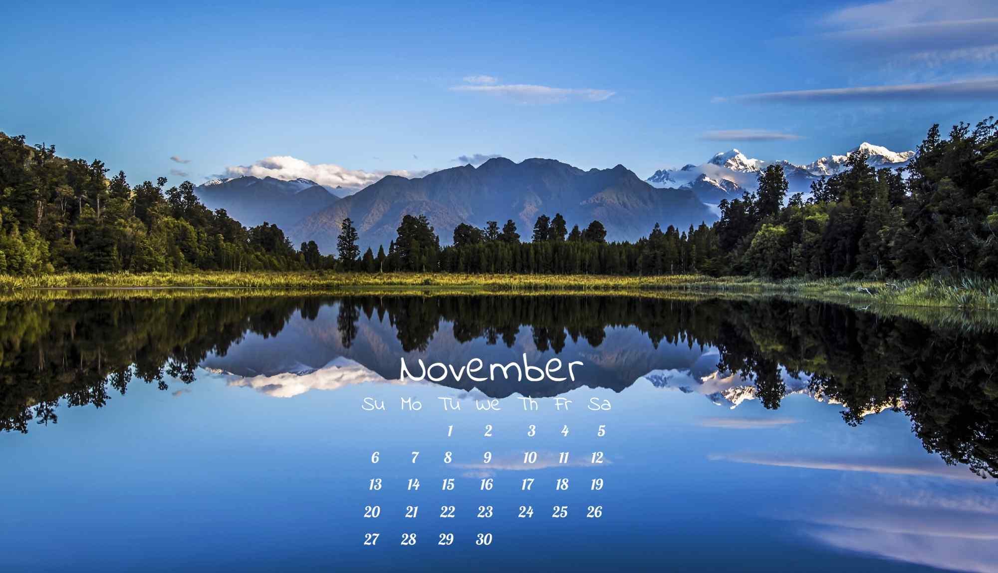唯美新西兰镜湖11月日历壁纸
