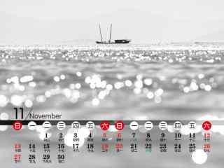 太湖上孤独的小舟