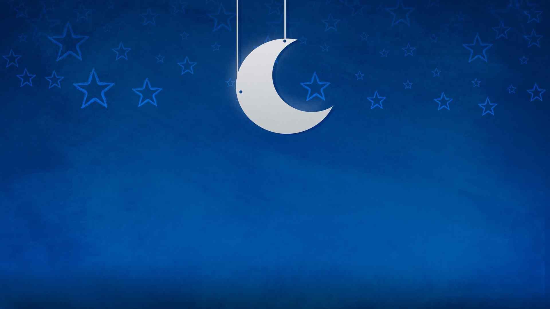小清新月亮星星图片桌面壁纸