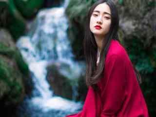 古风红衣美人高清写真壁纸