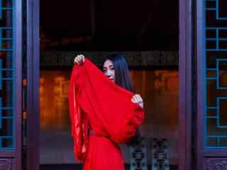 唯美古风红衣美人写真壁纸