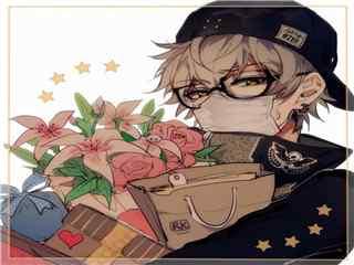 动漫男生抱鲜花头像图片