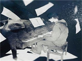 动漫男生弹钢琴头像图片