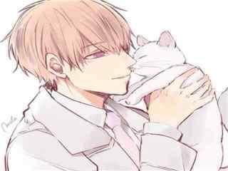 动漫男生抱猫头像图片