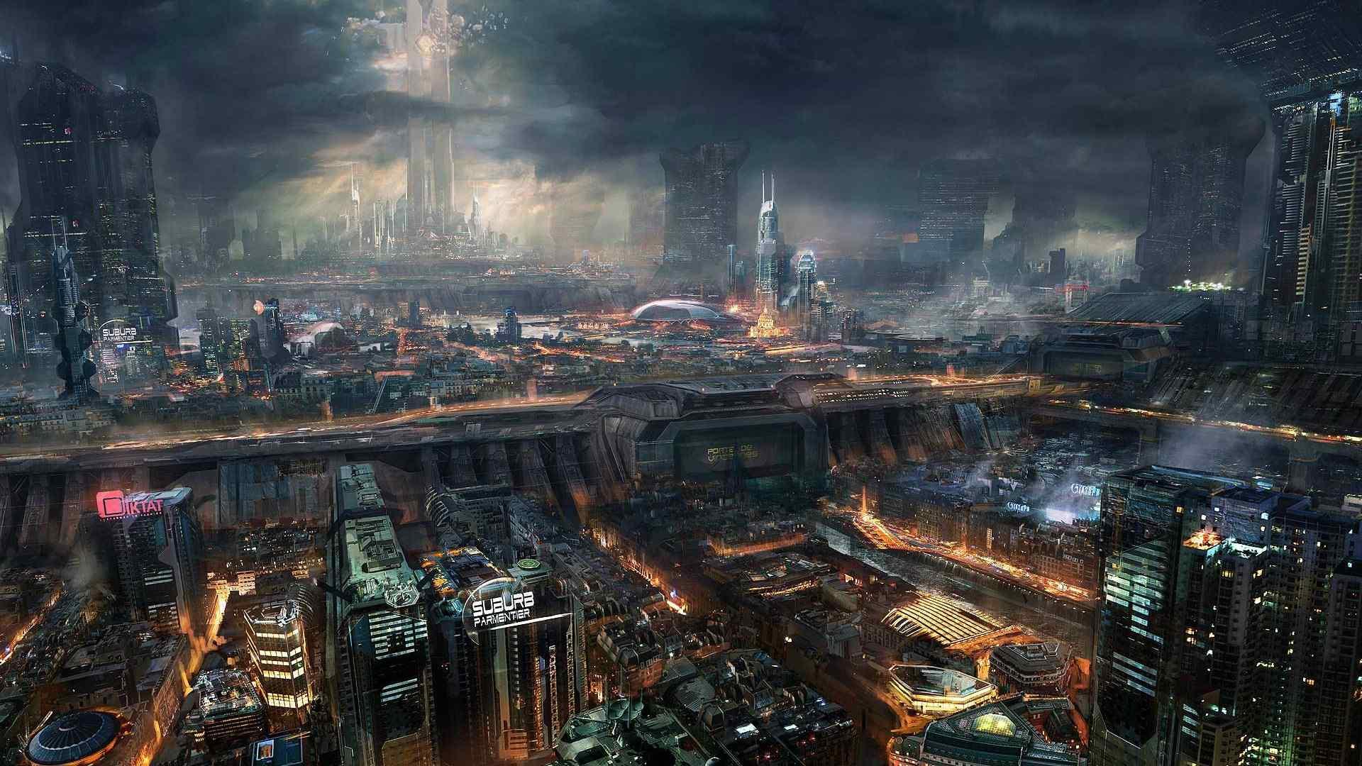 炫酷的科幻未来城市桌面壁纸