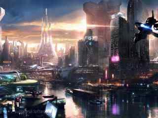 科幻未来高科技城市桌面壁纸