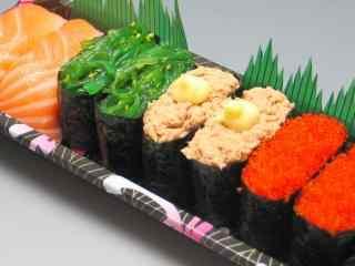 寿司海草卷鱼子酱卷三文鱼卷桌面壁纸