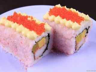 寿司樱花鱼子芝士卷桌面壁纸