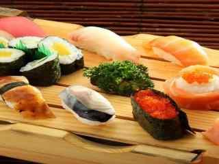 寿司大杂烩海鲜蔬菜熏肉寿司桌面壁纸