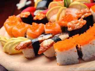 寿司海鲜三文鱼鱼子酱北极贝桌面壁纸