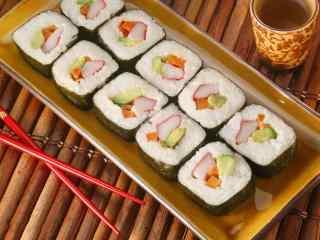 寿司乌贼果蔬卷桌面壁纸