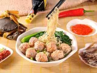 香港特色美食之鲜虾云吞面高清壁纸下载
