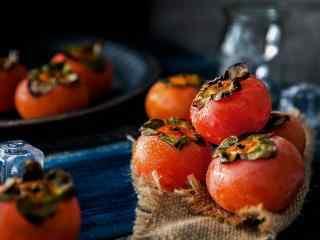 秋季养生之美食柿子桌面壁纸