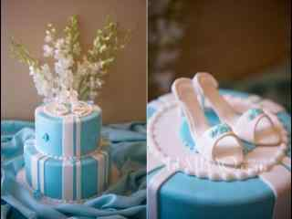 翻糖蛋糕蓝色创意高跟鞋系列蛋糕桌面壁纸