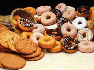 饼干曲奇饼干和甜甜圈桌面壁纸