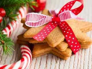 饼干星型曲奇饼干红绸带装饰桌面壁纸