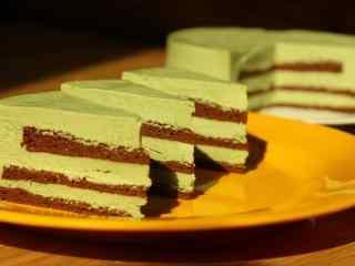 抹茶蛋糕抹茶慕斯蛋糕桌面壁纸