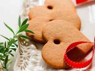 饼干爱心曲奇饼干创意红绸带桌面壁纸