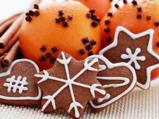 饼干巧克力饼干橙子创意搭配桌面壁纸