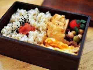 日式小清新木盒便当桌面壁纸
