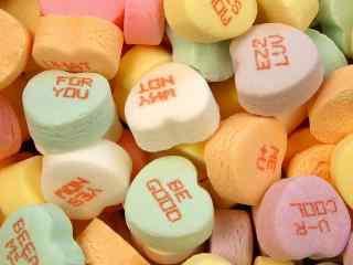 英文字母爱心棉花糖电脑桌面壁纸