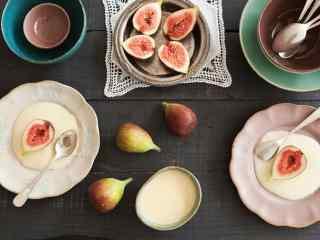 无花果花样吃法无花果炼奶下午茶桌面壁纸