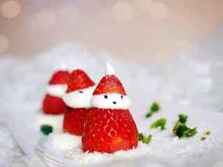 可爱的草莓小雪人蛋糕美食壁纸