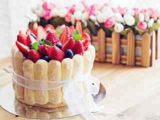 新鲜草莓蛋糕图片