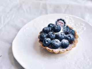 小清新蓝莓乳酪挞桌面壁纸