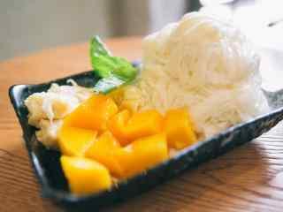 小清新好看的芒果绵绵冰桌面壁纸