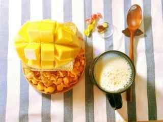 小清新美味的芒果早餐桌面壁纸