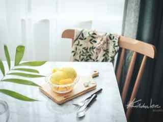 香甜可口的芒果冰淇淋桌面壁纸