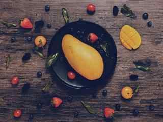 唯美好看的黄色大芒果桌面壁纸